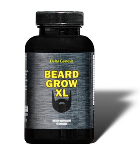 Beard Grow XL - Currently our top rated beard supplement. This image shows the bottle