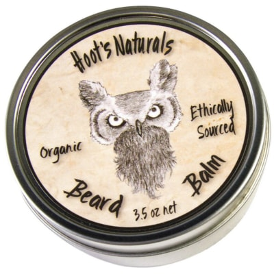 image of the Hoot's Naturals beard balm packaging