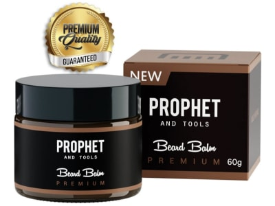 An image of the Prophet and Tools beard balm bottle as well as the box it comes in