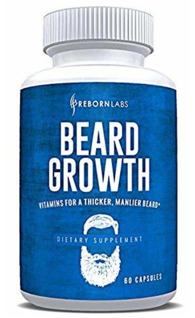 Picture of beard vitamins manufactured by Reborn Labs