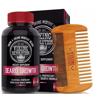 Picture of Viking Revolution beard growth vitamins as well as the included comb