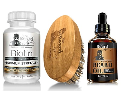 Product image of Beard Legacy's biotin supplement, brush and oil