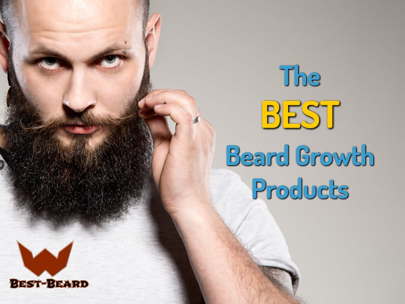 Featured image for the best beard growth products article. Showing a bearded man in the background