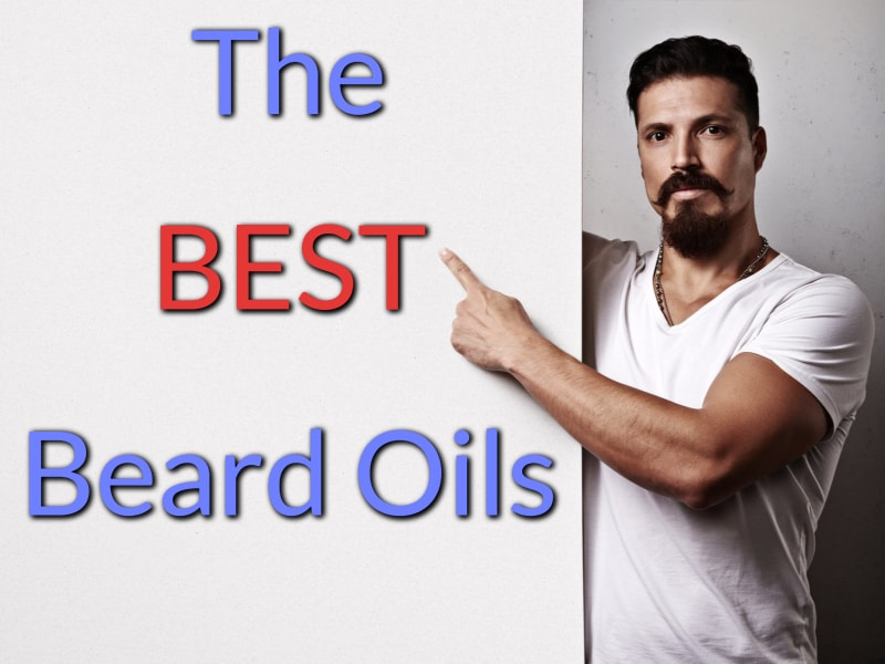 The best beard oils featured image, showing a bearded man pointing at the title