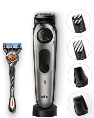 A product image of the Braun BT 7040 plus attachments
