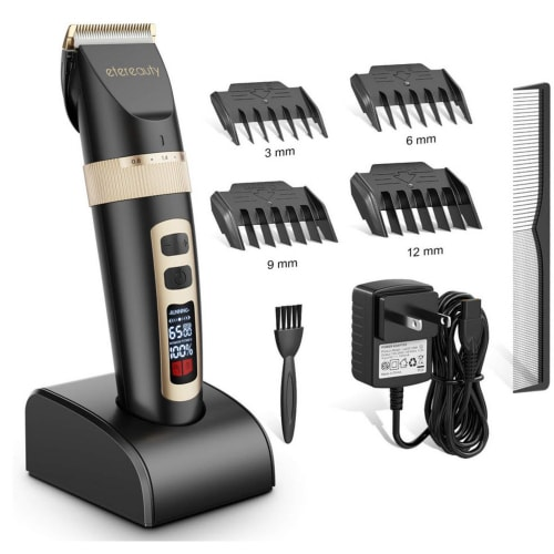 Product image of the Etereauty beard trimmer on its display stand plus the attachments