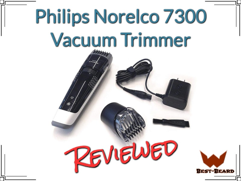 Featured image for the philips norelco 7300 vacuum trimmer review article showing the trimmer and its accessories