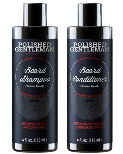 Product image of Polished Gentleman's beard growing shampoo and conditioner