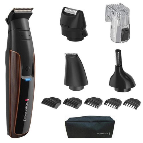 Product image of the Remington Crafter trimmer with its included attachments and accessories