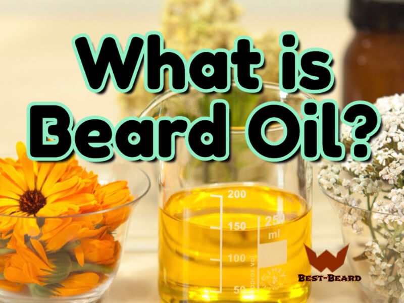 "The featured image of the ""what is beard oil"" article. The image shows natural oils as a background with the title of the article"