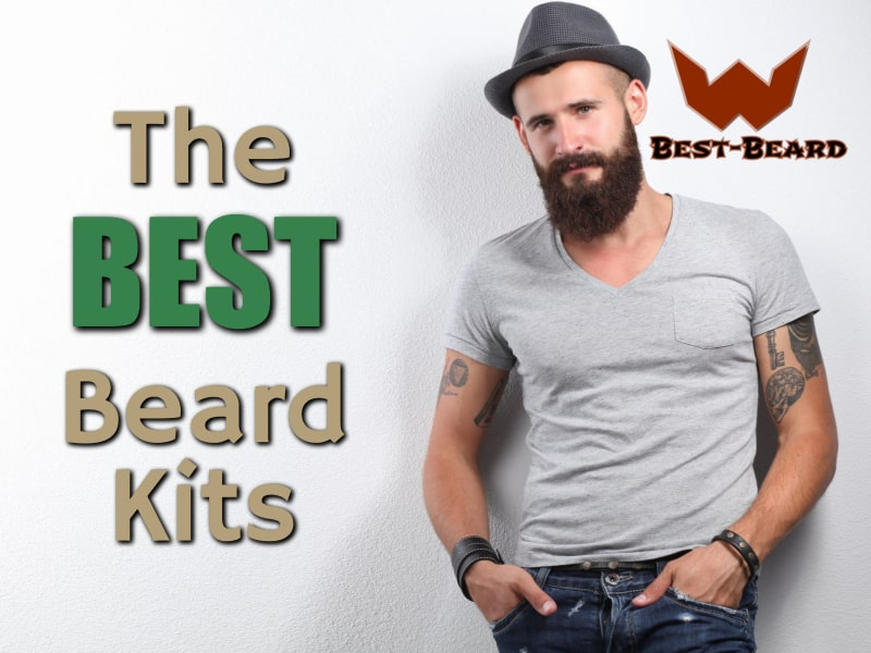 The featured image for the best beard kits article. Image is of a bearded man standing next to the article title